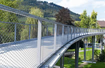 Stainless steel cable mesh is used as bridge balustrade for fall protection.
