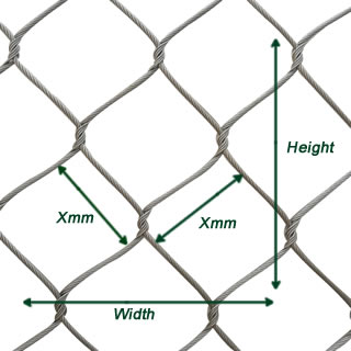 A picture about the dimensions of knotted cable mesh