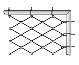 The cable mesh is mounted to the tubular frame by zip-ties.