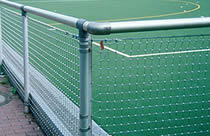 A stainless steel fences at stadium to protect spectator from damaged by fast running balls.