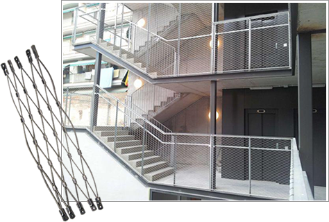 Stainless steel cable meshes are mounted to tubular frame to form balustrade panels for stairs.