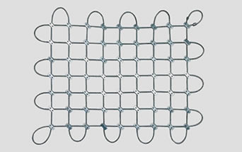 A piece of bolted square cable mesh