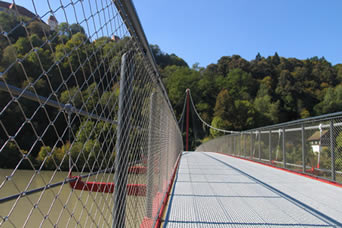 Both sides of a suspension bridge is mounted with stainless steel balustrade for protecting passing vehicles and pedestrians.
