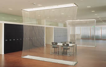 A stainless steel decoration mesh in the office for providing a fashion style.