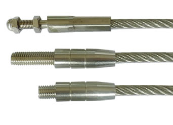 Three types of external thread ends for stainless steel cables