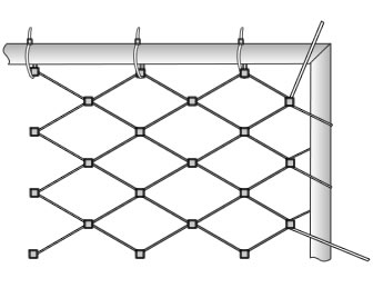 The cable mesh is attached to the frame and tightened.