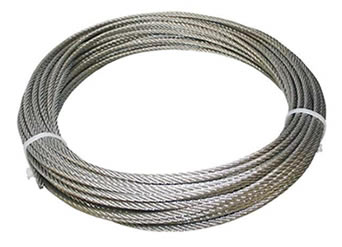 A roll of stainless steel cable in construction of 7 × 7.