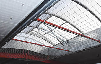 Stainless steel cable mesh ceiling with square pattern for protecting people below and ensure excellent lighting.